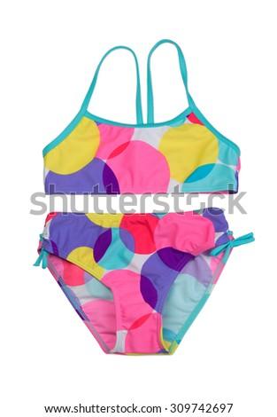 Colorful female swimsuit, studio, isolate on white. - stock photo