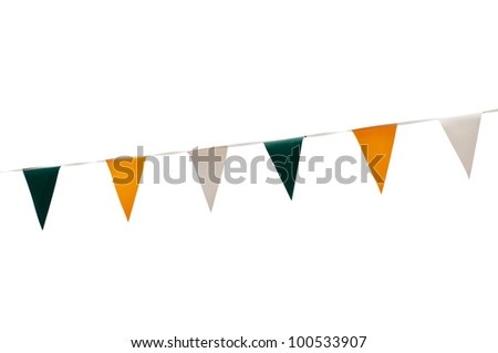 colorful festive green, yellow and white bunting flags (isolated on white background) - stock photo