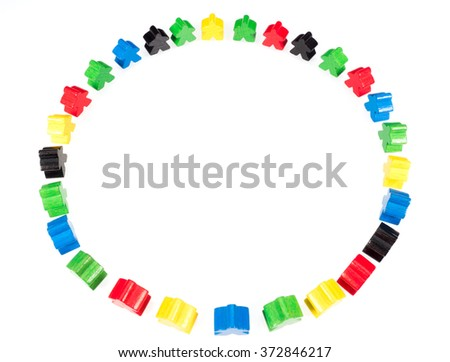 colorful figures forming a circle on white - stock photo