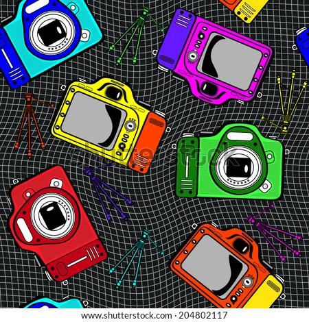 colorful film photo cameras seamless pattern - stock photo