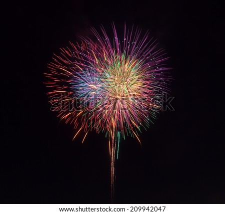 colorful firework from japanese traditional summer festival  - stock photo