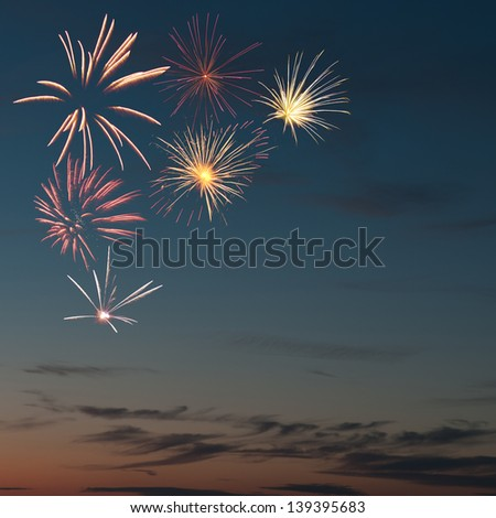 colorful fireworks and salute with various colors - stock photo
