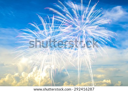 Colorful fireworks  and sky  in celebration of the big day. - stock photo