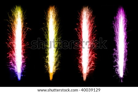 Colorful Fireworks collage over black background - stock photo