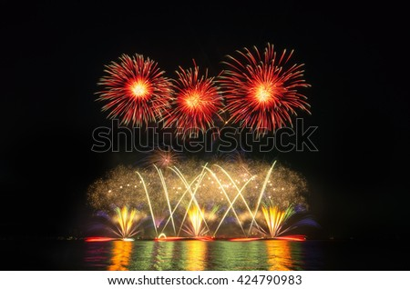 Colorful fireworks on the black sky background,fireworks background, fire works, fireworks celebration, fireworks night. - stock photo