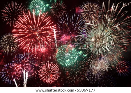 Colorful fireworks over a night sky. - stock photo
