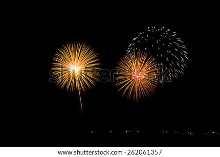 Colorful fireworks over dark sky - stock photo