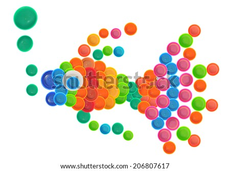 Colorful fish made of plastic bottle cap - stock photo