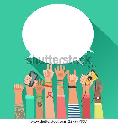 Colorful flat background with a lot of hands of young people and bubble for a text - stock photo