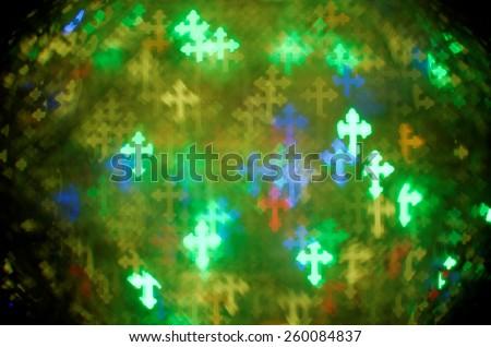 colorful fleur-de-lis cross bokeh background - stock photo
