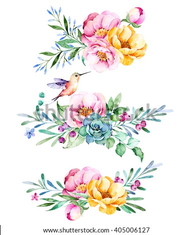 Colorful floral collection with roses,flowers,leaves,succulent plant,branches,hummingbird and more.3 beautiful bouquet for your own design.Lovely Bouquet collection.Perfect for wedding,invitations etc - stock photo