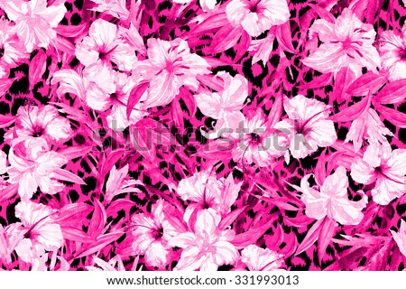 Colorful floral pattern on a leopard background. Animal spots Magenta tropical flowers hibiscus repeating on an animal's backdrop. Watercolor illustration - stock photo