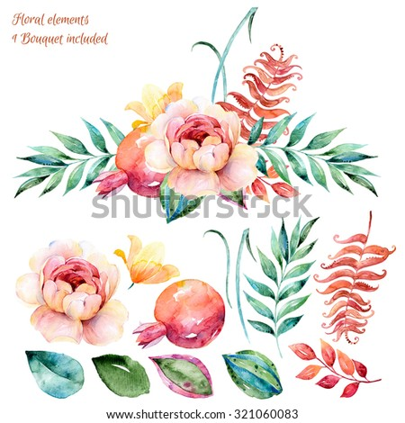 Colorful Floral set.Colorful white-purple floral collection with leaves and roses,drawing watercolor.Colorful collection with floral flowers+beautiful bouquet.Set floral elements for your compositions - stock photo