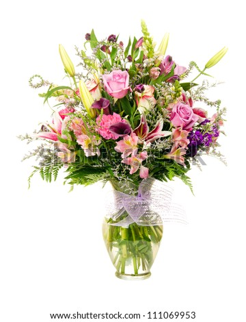 Colorful florist-made floral flower arrangement bouquet with lavender roses, calla lilies, alstroemeria, carnations, isolated on white - stock photo