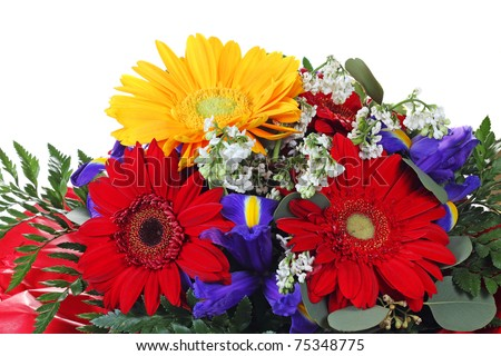 Colorful flower bouquet  isolated on white - stock photo