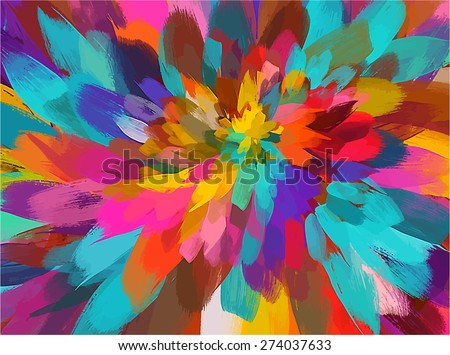 Colorful flower brush strokes background. Raster version - stock photo