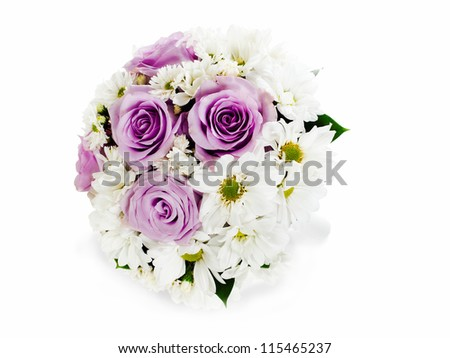 colorful flower wedding bouquet for bride isolated on white background - stock photo