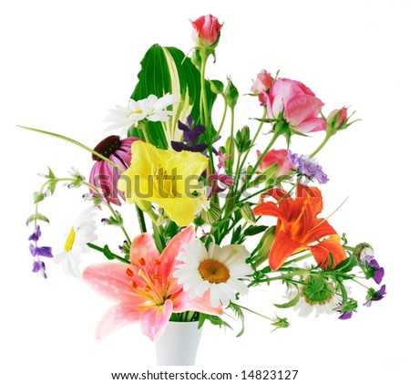 Colorful flowers in vase isolated on white background - stock photo