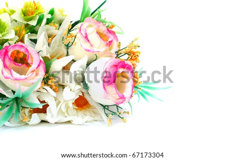Colorful flowers isolated on white background. - stock photo