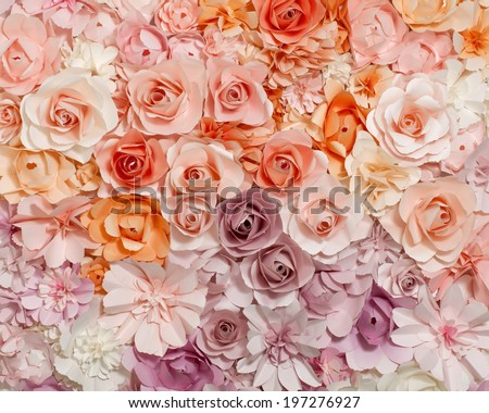 Colorful flowers paper background pattern lovely style. - stock photo