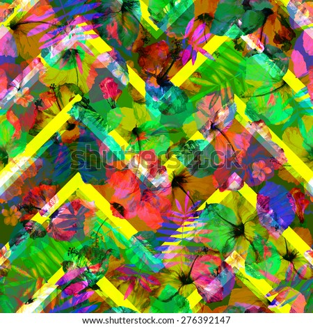 Colorful flowers pattern on green zigzag stripes. Seamless abstract geometric floral pattern on flowers hibiscus background - stock photo