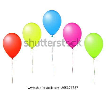 colorful flying air balloons isolated on white background - stock photo