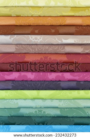 Colorful Folded Curtain Fabric Swatch - stock photo