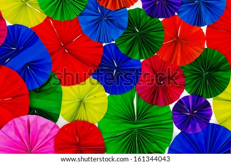 Colorful folded paper placed overlapping. - stock photo