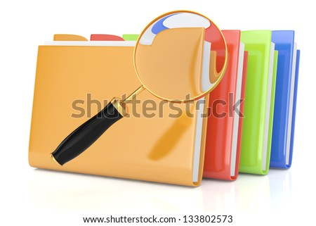 colorful folders and magnifying glass isolated on white. 3d rendered image. searching concept - stock photo