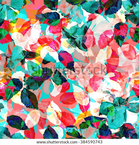 Colorful foliage seamless pattern. Watercolor painting leaves background with layering effect. - stock photo