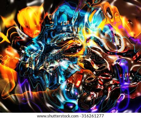 colorful  fractal fantasy - stock photo