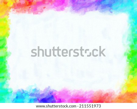 Colorful frame painting and drawing crayons with empty free space in the center. Oil or watercolor painting with vivid high satured colors. - stock photo