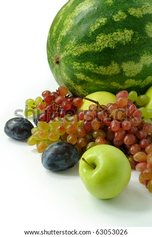 Colorful fresh group of fruits for healthy life. White background. - stock photo