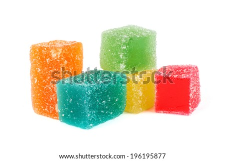 Colorful fruit jelly candies isolated on white - stock photo