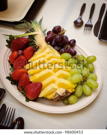 Colorful fruit salad catering - stock photo