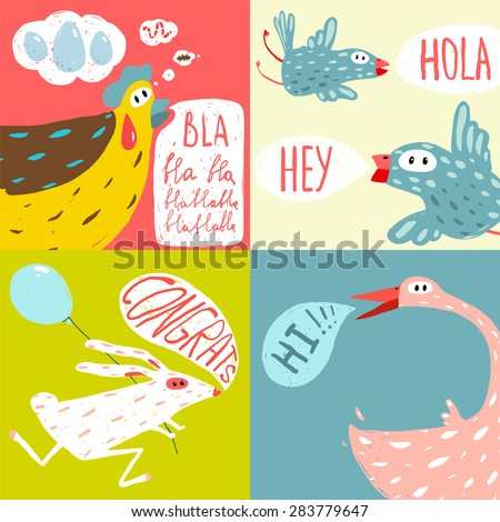 Colorful Fun Cartoon Domestic Animals Greeting Cards. Amusing vivid baby animals illustrations for children. Raster variant.  - stock photo