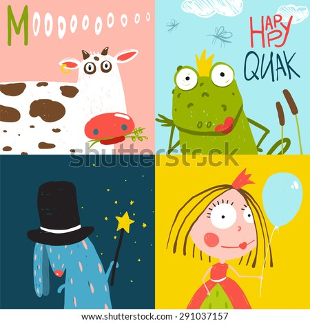 Colorful Fun Cartoon Hand Drawn Animals Greeting Cards for Kids. Amusing bright fun baby animals illustrations for children. Raster variant. - stock photo