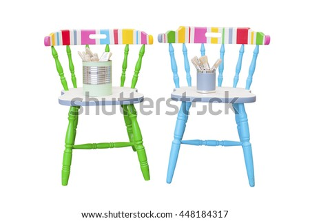 Colorful furniture, chairs and table, stock picture - stock photo
