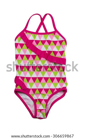 Colorful fused kids swimsuit. Isolate on white. - stock photo