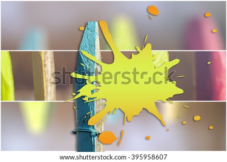 Colorful garden fence - text box - stock photo