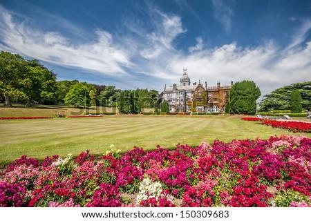 Colorful gardens at Adare manor, Ireland - stock photo