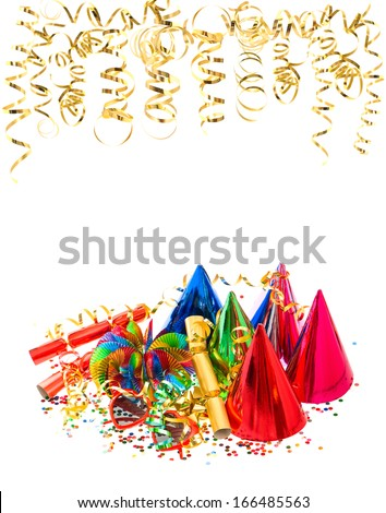 colorful garlands, streamer, hats and confetti. festive carnival or birthday party decoration background - stock photo