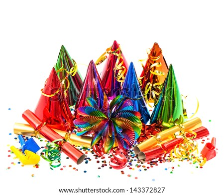 colorful garlands, streamer, party hats and confetti on white background. carnival decoration - stock photo