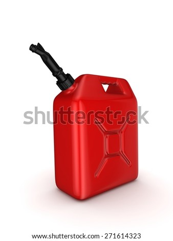 Colorful gasoline jerrycan isolated on white background. - stock photo
