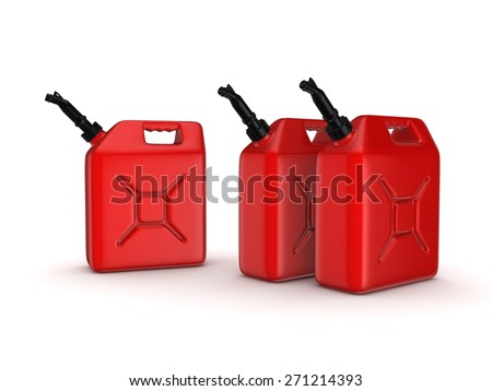Colorful gasoline jerrycans isolated on white background. - stock photo