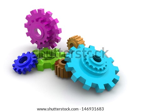 colorful Gear wheels - stock photo