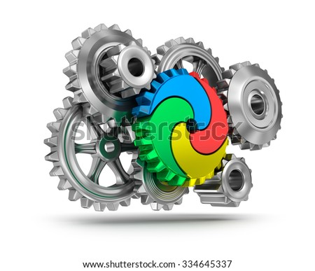 Colorful gear wheels - teamwork concept - stock photo