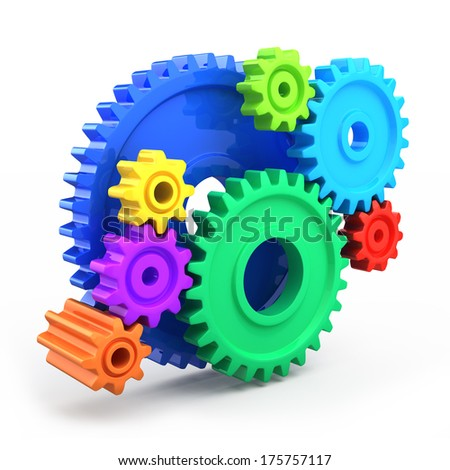 Colorful gear wheels - tools and settings icon - stock photo