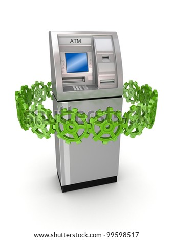 Colorful gears around ATM.Isolated on white background.3d rendered. - stock photo