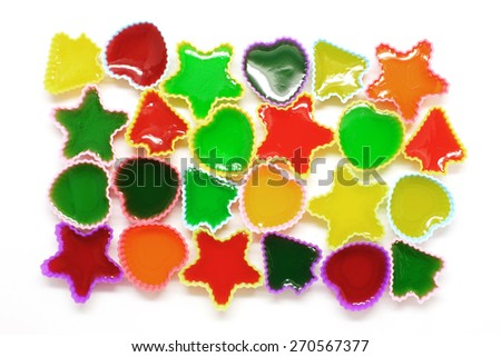 colorful gelatin or jelly dessert isolated on white background  - stock photo